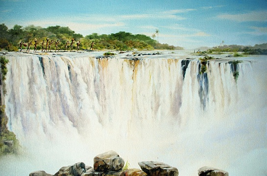* Artist Geoff Hunter's painting of early traders crossing above the Victoria Falls