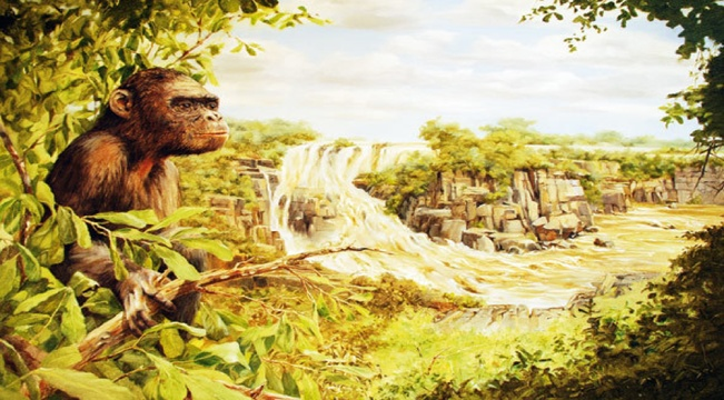 * Artist Geoff Hunter's interpretation of the early formation of the Victoria Falls, overlooked by an early human ancestor.
